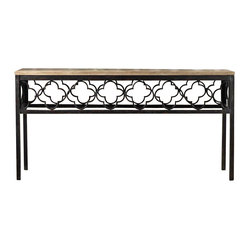 Hooker Furniture - Cassara Console - Entrance your home with this eclectic console. Crafted from pine veneers and seamlessly adjoined to an artistic metal pattern. What a way to say you've arrived!