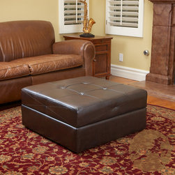 Christopher Knight Home - Christopher Knight Home Burlington Brown Leather Storage Ottoman - Add some discrete storage space to your living room with this brown leather storage ottoman. It comes in a chocolate brown color so it will add an air of sophistication to any room it's in, and it has caster wheels so it's easy to move it around.