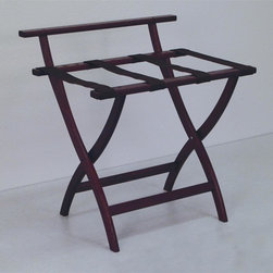 "Wooden Mallet - Luggage Rack w Brown Webbing in Dark Red Maho - Our unique ""Wall Saver"" feature prevents costly wall damage. Has multiple uses when it doubles as a breakfast tray holder or blanket stand. Folds flat and is easily stored in a closet or against a wall when not in use. Four 2 in. woven straps support heavy suitcases. Graceful, curved legs add a designer flair. Rated to hold suitcases up to 100 lbs.. Built using solid oak construction and state-of-the-art finish for heavy use and lasting beauty.  Made in the USA. No assembly required. All Wooden Mallet products are warranted for 1 year against defects in materials and workmanship. Overall: 29.5 in. L x 23.75 in. W x 18 in. H (7 lbs.). Open: 29.5 in. L x 23.75 in. W x 18 in. H. Closed: 29.5 in. L x 23.75 in. W x 4.5 in. HGive your guest room the feeling of a four star hotel with this beautiful luggage rack. Built using solid oak and sturdy webbing, even the heaviest suitcases are easily supported by the four 2 in. wide woven straps. Our unique ""Wall Saver"" feature prevents costly wall damage. This luggage rack has multiple uses when it doubles as a breakfast tray holder or blanket stand. These luggage racks fold and unfold easily. Take it out for guests, and then fold it up for easy storage. It is also a great in the master bedroom for packing suitcases for business trips or vacations."