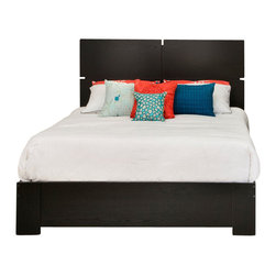 South Shore - South Shore Mikka Contemporary Style Queen Platform Bed in Black Oak - South Shore - Beds - 3541A1 - This Mikka Queen Platform Bed in Black Oak finish offers a chic and modern looking style with its clean and straight lines. It blends well with any contemporary decor. Wide panels are attached to the end of the bed to evoke legs. It is a good choice for the value-conscious as it doesn't require a box spring. Combine it with the Mikka Queen Headboard (Sold Separately) to create a perfect match.