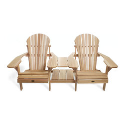 All Things Cedar - CEDAR Adirondack Outdoor Side By Side Tete-a-Tete - Comfortable adirondack seating for 2 complete with joining table and handy magazine rack Item is made to order.