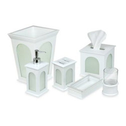 "Blockware, Llc. - Lantern White Bath Waste Basket - The lantern window panel design of the Lantern White Bath Ensemble will bring charm to your bathroom setting. Waste basket measures 10"" x 10"" x 11"". Crafted of durable wood with an inset panel of glazed plexiglass."