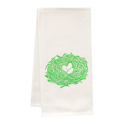 "artgoodies - Organic Nest Tea Towel - This high quality 100% certified organic cotton tea towel was custom made just for artgoodies! Hand printed with one of my original linocut block print images it measures 20""x28"" and comes wrapped in a green ribbon made from 100% recycled plastic bottles! Nice and absorbent for drying dishes, looks great when company is over, and makes a great housewarming gift!"