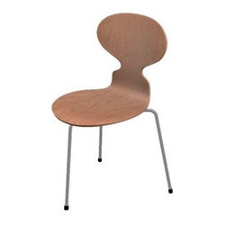 Fritz Hansen - Ant 3 Leg Chair - Natural Veneer by Fritz Hansen - The Fritz Hansen Ant 3 Leg Chair - Natural Veneer celebrates the iconic Ant Chair form as well as the natural materials used to make it. The curvy seat comes in a variety of laminated wood veneers. Each veneer's distinctive natural grain and tone are balanced by the modern gleam of chromed steel legs. Designed by Arne Jacobsen, 1952. Established in 1872 in Copenhagen, Fritz Hansen has since come to epitomize the mid-century Danish Modern aesthetic. Blending craftsmanship with innovation, Fritz Hansen is particularly well-noted for their laminated and molded wood veneer furniture. Pieces from Vico Magistretti, Piero Lissoni and, especially, Arne Jacobsen have become icons of modern furniture design.