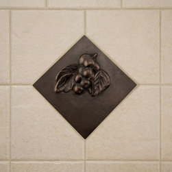 "4"" Solid Bronze Wall Tile with Grape Design - Bronze Patina - A Signature Hardware exclusive, this solid bronze accent tile will instantly add drama and elegance to your room. This wall tile features a charming grape design with a warm, Bronze Patina finish."