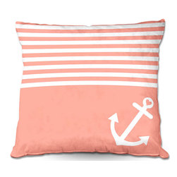 DiaNoche Designs - Pillow Woven Poplin from DiaNoche Designs by Organic Saturation - Coral Love Anc - Toss this decorative pillow on any bed, sofa or chair, and add personality to your chic and stylish decor. Lay your head against your new art and relax! Made of woven Poly-Poplin.  Includes a cushy supportive pillow insert, zipped inside. Dye Sublimation printing adheres the ink to the material for long life and durability. Double Sided Print, Machine Washable, Product may vary slightly from image.