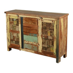 """Sierra Living Concepts - Mosaic Reclaimed Wood Buffet Cabinet with Drawers - Our Wooden Mosaic Cabinet has a rustic style with playful artsy touches. This handmade solid hardwood 52"""" long buffet is a smart storage system that works in the kitchen, dining room or bedroom. We make organizing easy with two 2-shelf side cupboards and four center drawers. The old wood cabinet stands off the floor on short legs."""