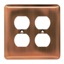 Liberty Hardware - Liberty Hardware 64069 Stamped Round WP Collection 4.96 Inch Switch Plate - Anti - A simple change can make a huge impact on the look and feel of any room. Change out your old wall plates and give any room a brand new feel. Experience the look of a quality Liberty Hardware wall plate.. Width - 4.96 Inch,Height - 4.9 Inch,Projection - 0.2 Inch,Finish - Antique Copper,Weight - 0.18 Lbs