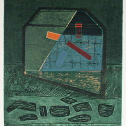 """Lost Art Salon - """"House Grid #65"""" Signed Original Gary Shaffer 1970-80s Collograph - Entitled """"House Grid #65"""", this signed chine colle and collograph on paper abstract is titled and numbered by New York/San Francisco artist Gary L. Shaffer (1936-2001). Shaffer trained with Hans Hoffman in the late 1950s and became an influential member of the Printmakers' Workshop in Manhattan. Shaffer moved to San Francisco in the late 1970s. His works are in the permanent collection of the Art Institute of Chicago and the Detroit Institute of Arts, amongst many others. Unframed."""