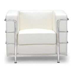 Fortress Chair, White - This Mid-Century classic, the Fortress chair comes with leather seating, leatherette back and sides with a chrome steel tube frame.