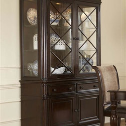 Liberty Furniture - Liberty Furniture Kingston Hutch & Buffet in Hand Rubbed Cognac Finish - Kingston Plantation speaks of low country elegance.  A rich cognac finish is hand rubbed with wax to add depth and complexity to the finish.    Formal in scale and look Kingston Plantation offers a 72 rectangle table that expands to 108 with 2 18 leafs.  The serpentine shaped aprons flow into heavy turned legs.  The 54round pedestal expands tot 72 with 1 18 leaf.  Both tables feature fancy face veneer tops.    The chairs are in contrasting taupe chenille back with a chocolate bi-cast seat.    The buffet features black granite inserts and a center removable wine rack.  The china is a two piece with the hutch featuring glass doors with x wood grid accents.  Lighted interior with two glass shelves and a mirrored back. The base is functional with concealed storage of two drawers and doors with interior wood shelving.Collection Features: French & English Dovetail ConstructionFull Extension Metal Side Drawer GlidesFelt Lined Top DrawersAntique Brass Oversized Knob HardwareX Shaped Removable Wine StorageEmperadora Marble Inserts (SR5838)Touch Lighting on HutchFancy Face Veneer TopsIncludes Two 18 Inch Leaves (T4408)Includes One 18 Inch Leaf (T5472)Fully Stained Interior DrawersUpholstered in Olive Chenille BackUpholstered in Chocolate Bonded SeatOne Adjustable Shelf Behind Door