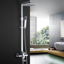 JollyHome - JollyHome Wall Mounted Square Copper Shower Faucet Single Handle - Made of excellent copper ZH59, fine electroplated and polished.Perfect stream quality even under difficult flow conditions.Very low noise level; extended life.Easy to keep clean and maintain