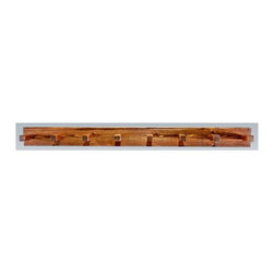 Montana Woodworks - 60 in. Coat Rack - Includes hardware. Hand crafted. Heirloom quality. Mounts easily to most walls. Timbers and trim pieces are sawn square. Rustic timber frame design. Made from American grown wood. Stained and lacquered finish. Made in USA. No assembly required. 60 in. W x 8 in. D x 6 in. H (10 lbs.). Warranty. Use and Care InstructionsThe log coat rack from Montana woodworks mounts easily to most any wall. Provides a sturdy and attractive solution to the everyday problem of coats lying around the house. The artisans rough saw all the timbers and accessory trim pieces for a look uniquely reminiscent of the timber-framed homes once found on the American frontier.