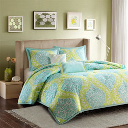 Intelligent Design - Intelligent Design Senna Comforter Set - The Senna collection provides color and fashion for any bedroom. The comforter and sham features an updated overscale damask pattern in aqua blue and chartreuse green color. The pattern is printed on a soft microfiber fabric and it reverses to a sold aqua blue color. The set includes two decorative pillows that will definitely make a fashion statement in your room. Comforter/sham face: 100% polyester 85gram micro fiber printed; Back: 100% polyester 75gram solid; Filling: 100 % polyester 200gram; Pillow: 100% polyester with polyfill.