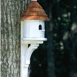 Lazy Hill Farms Small Shingled Bird House - Give a small bird friend a place to live and add classic charm to your garden with the Lazy Hill Farms Small Shingled Bird House. This detailed little bird house is made of white, solid cellular vinyl, which has the look and feel of genuine wood without the maintenance. It's topped with a redwood shingle roof that comes off easily for cleaning and even includes a metal plate for post mounting.About Lazy Hill Farm Designs Lazy Hill Farm Designs is a leader in garden and birding accessories. They are known for turning exquisite designs into exceptional quality garden accessories. All Lazy Hill Farm products are made of solid cellular vinyl that looks and feels like genuine wood yet requires no maintenance. All the roofs are removable for easy cleaning and each one is handcrafted in America. These are among the finest garden accessories on the market.