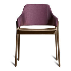 Blu Dot - Blu Dot Clutch Dining Chair, Smoke / Purple - Sturdy yet elegant and comfortable without being overly plush, Clutch's rounded edges and curved back wrap around to provide the perfect resting spot for arms. Your choice of white oak, smoke on ash or red on ash wood with red upholstery.Solid stained ash or white oak wood legs or red on ash legs with red upholstery, Upholstered and padded bent plywood seat back, Plywood seat with ash or oak wood veneer, 100% polyester fabric