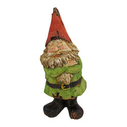 NOT LISTENING Wooden Look Laughing Garden Gnome Statue - This adorable, green tunic wearing garden gnome statue looks like it was carved from driftwood. Measuring 9 3/4 inches tall, 4 inches long and 5 1/4 inches deep, this adorable gnome obviously doesn`t want to hear any complaints. He has his arms folded and eyes closed. He looks best when positioned with his back to the action. Exposed `wood` on his body and clothing give the gnome a chic aged look. This statue looks great in gardens and flower beds, and makes a great gift.