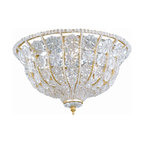 Crystorama - Crystorama 218-BG-CL Signature Flush Mount Ceiling Light - This flush mount fixture from the Signature Collection takes a Burnished Gold Frame and adorns it with elegant rosettes and crystal beads making for a beautiful addition to any room
