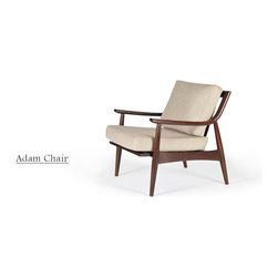 Gingko - Adam Chair - This midcentury charmer offers the best seat in your house. Handcrafted of solid walnut, it boasts an inviting design of turned legs, curved arms and an exposed wood back. To top it off, the upholstered cushions — available in four colors — are both comfortable and classy.