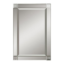 "Uttermost - ""Uttermost Emberlynn Mirror 1 x 20.5 x 30.75"""", Silver"" - ""This frameless, beveled mirror has V-grooves and decorative corner etchings. The edge is polished for a smooth finish.Dimensions: 1"""" depth by 20.5"""" width by 30.75"""" heightMaterial: wood"""