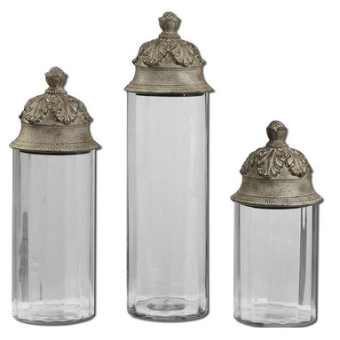 """Uttermost - Uttermost Acorn Glass Cylinder Canisters, Set of 3 19714 - Clear glass cylinders topped with textured brown lids with a heavy tan glaze. Not recommended for food storage. Small size: 6""""W x 14""""H x 6""""D, Medium size: 6""""W x 18""""H x 6""""D, Large size: 6""""W x 21""""H x 6""""D."""