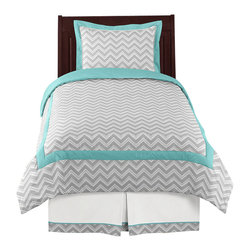 Sweet Jojo Designs - Zig Zag Turquoise and Gray 4-piece Twin Bedding Set by Sweet Jojo Designs - The Zig Zag Turquoise and Gray 4-Piece Twin Bedding Set by Sweet Jojo Designs, along with the  bedding accessories.