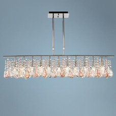 "Luminous 48"" Wide Clear and Pink Crystal Chandelier 