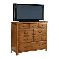 American Drew - American Drew New River 7 Drawer Media Chest in Rustic Alder - The bedroom exudes a solid and relaxed style, with refined details that add a touch of craftsmanship, like thumb-molded solid wood drawer fronts, shaped posts, recessed end panels, pegged joints and cast hardware accents. The drawer dresser provides ample storage in eight sizable drawers, while a leather-fronted bachelor�۪s chest, accented with nail heads, lends a rustic, lodge touch. The 70� tall raised-panel bed with softly rounded cap rail is a focal point in any bedroom. An upholstered sleigh bed adds comfort and luxury, while the metal bed creates a more urban atmosphere.