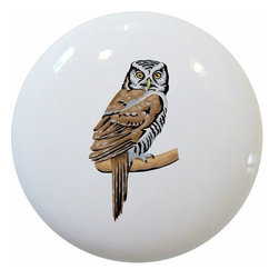 Carolina Hardware and Decor, LLC - Owl Ceramic Pull Handle, Knob - New 1 1/2 inch ceramic cabinet, drawer, or furniture knob with mounting hardware included. Also works great in a bathroom or on bi-fold closet doors (may require longer screws). Item can be wiped clean with a soft damp cloth. Great addition and nice finishing touch to any room!