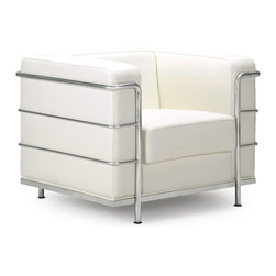 ZUO MODERN - Fortress Arm Chair White - A Mid-Century classic series, the Fortress comes with leather seating, leatherette back and side with a chrome steel tube frame. It comes in black, white or espresso.