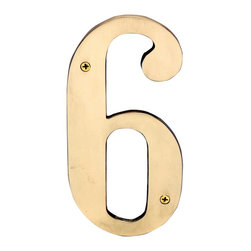 """Renovators Supply - House Numbers Bright Brass House Numbers:#6 Or #9 8"""" H - House numbers: Crafted of solid brass, these die cast numbers measure 8 in. high. Beautiful polished solid brass will withstand the test of time. Includes 2 screws for mounting and 2 wall anchors."""