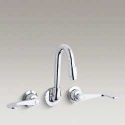 KOHLER - KOHLER Triton(R) shelf-back double wristblade lever handle sink faucet - With a practical design and solid brass construction, Triton faucets are an exceptional value. This competitively priced Triton shelf-back sink faucet features a gooseneck spout and a durable Polished Chrome finish. Two wristblade lever handles complete t