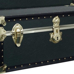 Seward Trunk - Armed Forces The Academy Trunk in Olive Green - 3.5 in. Deep tray included. Heavy gauge Olive drab. Green vinyl covering. Brass flat corners & shoulders. Cowhide leather handles. Fully tacked edges to government specification. Side dowels & above handles. Provide extra reinforcement when trunk is closed. Dust & moisture resistant. Tongue & groove closure. 31 in. L x 17 in. W x 12.25 in. H