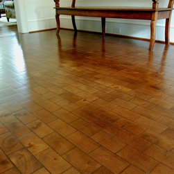 Belgium Block Oak, Running Bond End Grain Block - Our hand cobbled Belgium Block is perfect for accentual spaces such as wine cellars. Each piece is hand cobbled to give the look and feel of a century old wooden block floor.