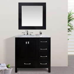 Stufurhome - Stufurhome 36 in. Malibu Espresso Single Sink Bathroom Vanity - GM-6412-36ES - Shop for Bathroom Cabinets from Hayneedle.com! When you envision modern bathroom design clean lines and luxurious finishes are the first things that come to mind. The Stufurhome 36 in. Malibu Espresso Single Sink Bathroom Vanity embodies contemporary style with highly functional performance. The sturdy cabinet of this sleek bathroom vanity is constructed of solid oak with a warm espresso finish that contrasts beautifully with the Carrara white marble countertop. Keep toiletries and cleaning products tucked away within the cabinet s five soft-closing drawers each adorned with shining stainless steel hardware. Two doors also soft closing open to reveal additional storage space and a shelf inside the perfect space for storing hand towels or bathroom tissue.Add the optional marble countertop which features a single undermount sink as well as ample space for spreading out makeup a hair dryer styling products and more. Choose to add the optional mirror whose frame coordinates perfectly with the rich espresso finish imparting a tied-together look that makes a striking impression in any bathroom. Choose the vanity base only; the vanity base with top and sink; or the vanity base top sink and mirror.About StufurhomeBased in San Francisco Stufurhome boasts the best and broadest selection of well-designed well-crafted sink vanities and home furniture. Classic Venetian contemporary modern chic - Stufurhome has every vanity style in a variety of sizes to accommodate all modern bathrooms. Hand-carved moldings antiqued brass hardware fine finishes and hand-painted details add artistry to every piece.