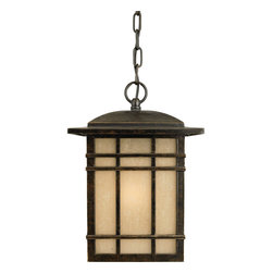 Quoizel - Quoizel HC1909IB Hillcrest 1 Light Outdoor Pendants/Chandeliers in Imperial Bron - Long Description: A design made for classic Arts & Crafts style homes, but looks great on contemporary or modern homes as well. The opaque linen glass softens the light, reducing glare and hot spots.