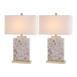 Safavieh - Tory Shell Table Lamp ZMT-LIT4107A (Set of 2) - Architectural in its graphic simplicity, the Tory Shell Table Lamp's columnar base is artfully adorned with mosaic capiz shells and complemented by a transitional rectangular Geneva white shade. With brushed gold stand and fittings, this lamp casts an elegant glow in living room, hall or bedroom. (Sold in set of 2).