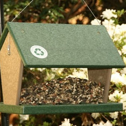 Songbird Essentials - Hopper Feeder 4 Quart Hunter Driftwood - Hunter Green and Driftwood Recycled Plastic Large Hopper Feeder that will hold up to 4 quarts of seed. Great drainage and easy to clean and disinfect 10 x 9 x 10.5