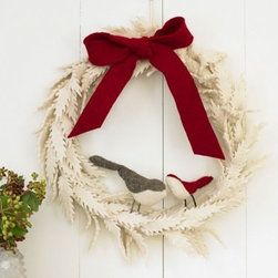 """Viva Terra - Felted Wool Wreath - Our warm and cuddly wreath puts soft felted wool to cleverseasonal service, year after year. Topped with a fat red bow, the serrated felt leaves play host to two perched birds. No mess, no fuss:our wintry wreath doesn't shed or crumple, keeps it shape, andquickly becomes a favorite holiday welcome. 16""""D x 2.5""""W"""