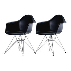 """2 Eiffel Molded Chrome Arm chairs, Black - This versatile, contemporary chair is a barebones take on the shape of an armchair. The seat of Eiffel chair is made from a very heavy-duty, strong plastic with a matte finish and is supported by an equally strong steel base, which is covered with a layer of high-shine chrome. The eiffel wire base chair has an """"Eiffel Tower"""" style steel base and plastic shell seat. Four black feet are included to protect hardwood flooring. Very up-to-date, your inner sense of style will revel in the trendiness of this chair. Add several Eames Era Eiffel Base Side Chairs around your kitchen table, and watch as the room is instantly transformed with a classic retro-inspired look. This versatile chair is a popular choice for kitchens, and works just as well as additional seating in the living room, bedroom, or office."""