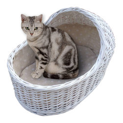 Home Bazaar Inc - Wicker Cat Crib – White - An adorable hand woven bassinette that will accommodate all types of cats,  Constructed of natural willow  with a poly fill cushion and color coordinated fabric liner.  A terrific setting for your feline's next litter!