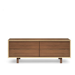 Cherner Chair - Cherner Chair Multiflex 4 Drawer Credenza - Multiflex casegoods are lightweight, strong and made entirely from laminated, cross-ply and molded plywood. Clear or Classic finish on American Walnut veneers are complimented by the exposed mitered and curved plys of the geometric case and molded plywood pulls and legs. Multiflex is available in a range of unit sizes and storage configurations. Made in the USA. Manufactured by Cherner Chair.Designed in 2003.