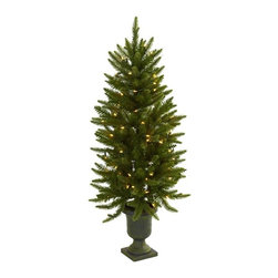 4' Christmas Tree with Urn and Clear Lights - Here's a piece that's destined to become your favorite holiday decoration. This faux Christmas tree stands 4' high in its decorative urn, and comes with 100 clear lights. The best part is the lights will stay on if one burns out, ensuring this tree will light your holiday spirit for years to come. Perfect for home or office holiday decorating, it makes a great gift as well. Height= 4 Ft. x Width= 21 In. x Depth= 21 In.