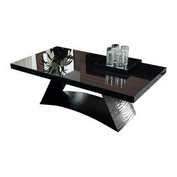 Rossetto - Nightfly Ebony Coffee Table - One look at this contemporary coffee table and you understand why Rossetto has quickly became the first name in Italian inspired home furnishings. The modern design delivers easy arcing with straight lines and detailed wood finishes which are further protected by a rich gloss. The table base is covered in the elegant faux crocodile ecoleather for additional dimension and texture. Attention to detail and the highest quality workmanship found in today's modern furnishings ensure your choice is a wise investment for many years.