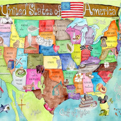 Huge United States of America Watercolor Art Map Poster by Marley Ungaro - This map makes for a bright and colorful addition to a kid's room. It's a great learning tool and fun addition to a wall.