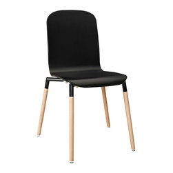 Stack Wood Dining Chair - Acquaint yourself with an intelligent piece concealed behind sheer simplicity. Stack exhibits fluid lines and an organic form in a seamless transition from the abstract to the definite. Made from a painted durable steel top and solid beech wood legs, Stack coalesces both form and purpose in a harmoniously designed piece that matches well in any uncomplicated decor.
