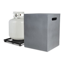 Real Flame - Mezzo 20lb Cube LP Tank Holder - Flint Grey - Everybody loves a good barbecue, but who wants to see the propane tank? This handsome cover will have your guests wondering where the gas is coming from for the fire. Simply cover up and get to barbecuing business.