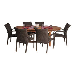 International Home Miami - Amazonia BT Le Mans Deluxe 7-Piece Patio Dining Set - Great Quality, elegant design patio set, made of solid eucalyptus wood, aluminum and synthetic wicker. FSC (Forest Stewardship Council) certified. Enjoy your patio with style with these great sets from our Amazonia outdoor collection