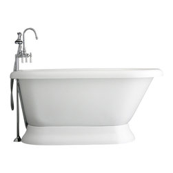 "Baths of Distinction - Hotel Collection 59"" Classic Pedestal Bathtub/Faucet Package - Package consists of a classic style pedestal bathtub in 59 along with hardware including faucet with handheld shower, drain with lift off stopper, and straight supply lines all in chrome.  Bathtub is made of CoreAcryl acrylic with a resin/powdered stone filler.  Bathtub has a built in aluminum hear barrier within the tub body.  The surprise with this bathtub is the floor room and the depth found in it for a 59 inch bathtub."