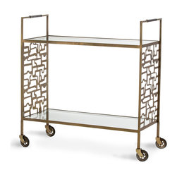 Nicholas Bar Cart - Organic or urbane, lacy or geometric, the laser-cut pattern in the side panels of the Nicholas Bar Cart adapts to the themes of your decor.  This iron bar cart, finished in an antique brass tone that suits transitional decor effortlessly and accented with chocolate leather and vintage-style casters, enhances your display space with its double glass shelves.